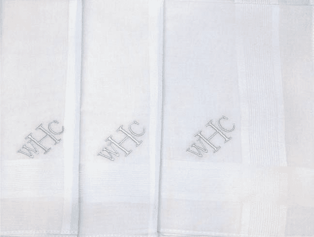 White Men's Monogrammed Handkerchief