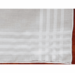White Men's Woven Satin Stripe Unique Design Handkerchief