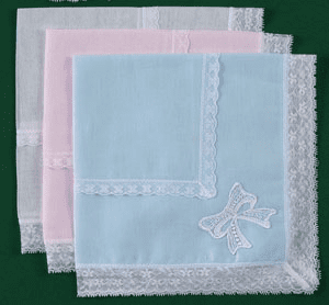 White, Pink or Blue Cotton Ladies Handkerchief with Embroidery & Lace