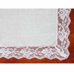 White Rose Lace Bridal Handkerchief 1-3/8 in Lace Trim
