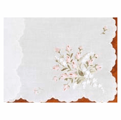 White Swiss Embroidered Pink Rose Bouquet Handkerchief