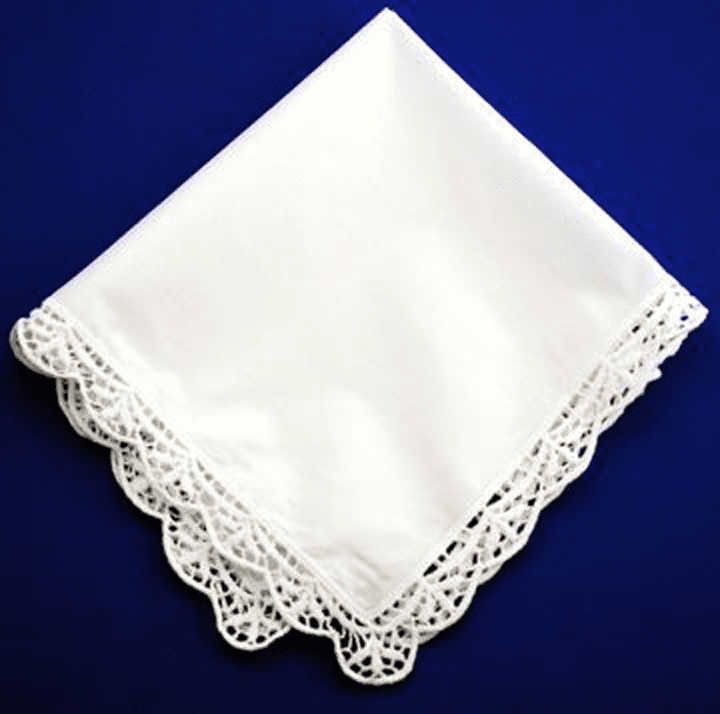 White Trellis Lace Ladies Wedding Handkerchief 12 x 12