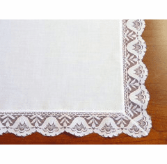 White Wedding Bell Lace Cotton Handkerchief Personalize Me