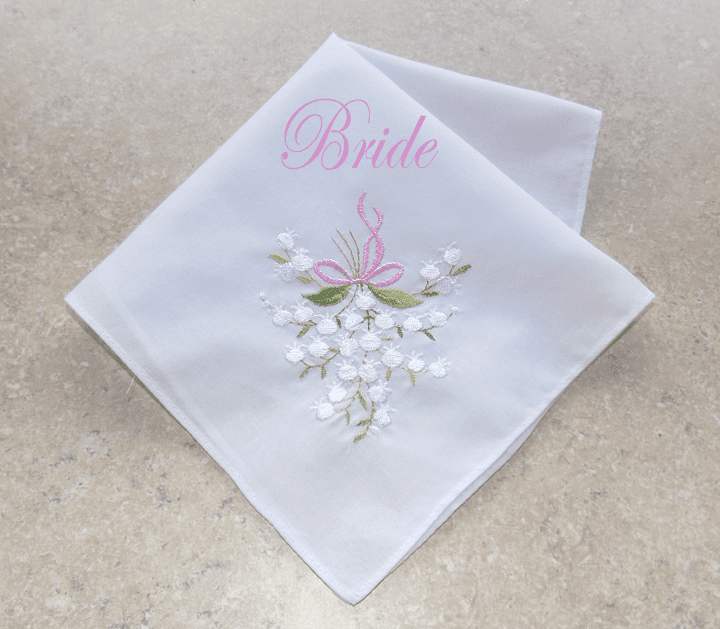 White Wedding Lily Bride Pink Bow 100% Cotton Embroidered Handkerchief
