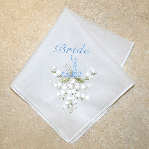 White Wedding Lily Bride Something Blue 100% Cotton Embroidered Handkerchief  83181BHH