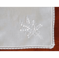 White Wedding Ring Embroidered Cotton Handkerchief