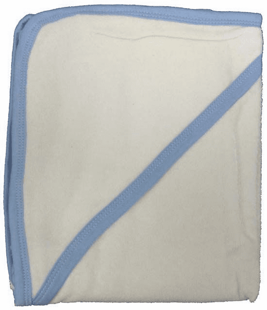 White with Blue Binding Terry Hooded Baby Towel Personalize Me