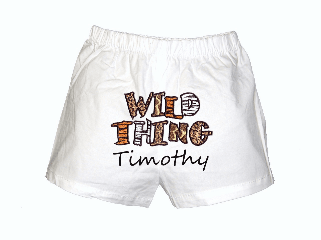 Wild Thing Personalized Baby Infant Boxers White