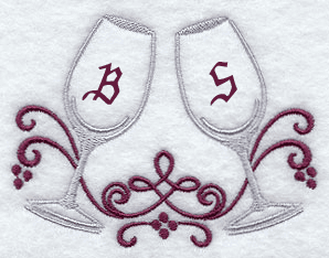 Wine Glasses Handkerchief Embroidery Design hank27