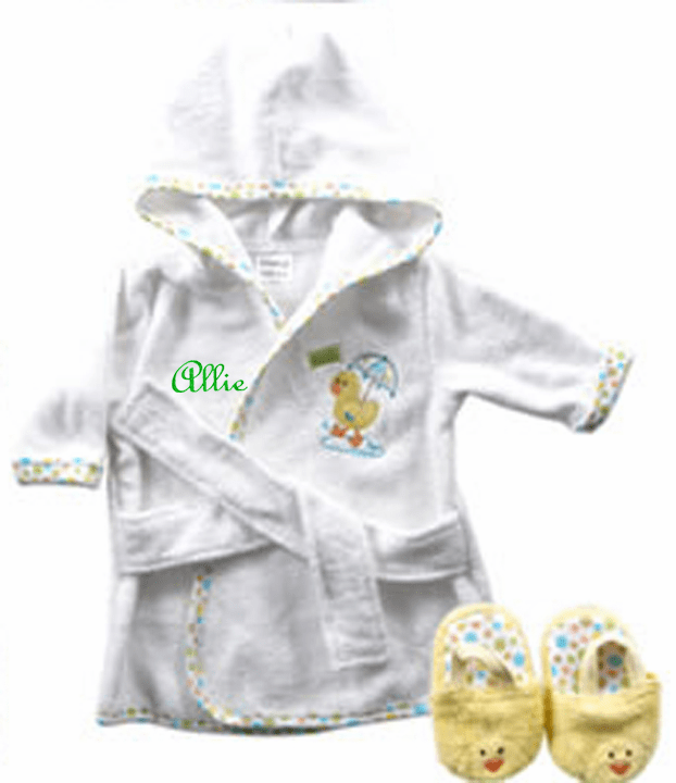 Yellow Ducky Terry Baby Bath Robe & Slippers Set Personalize Me
