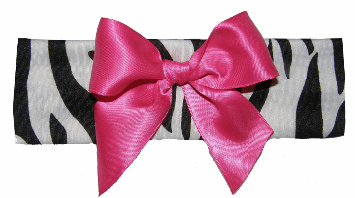 Zebra Lycra Headband with Hot Pink Bow