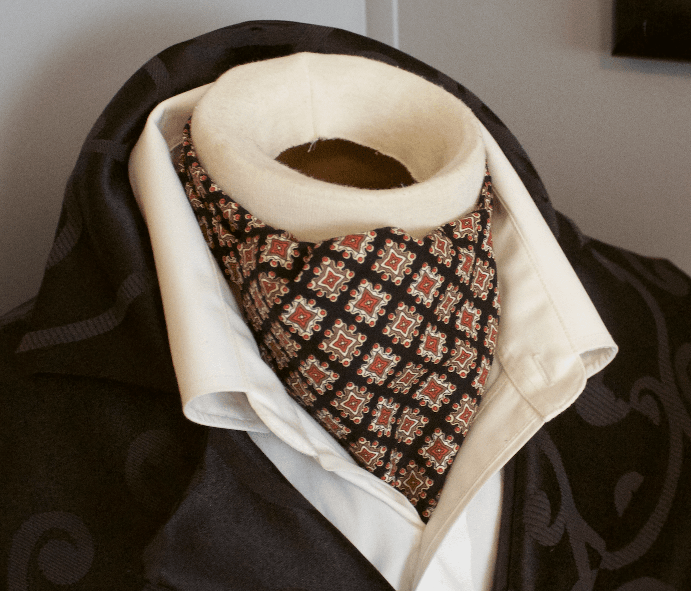 Day Ascot Cravat Tie - 100% Cotton Black background with Shades of gold and brown