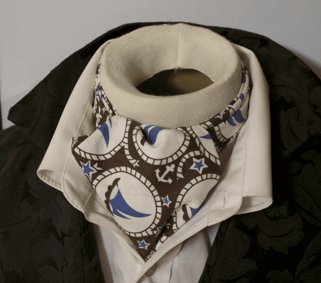 Day Ascot Cravat Tie - 100% Cotton Blue and Brown Nautical Sailboat