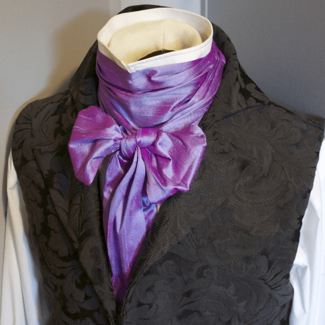Extra Long - REGENCY Victorian Style Ascot Tie Cravat � Lavender Blue Dupioni Silk - 6 inch width