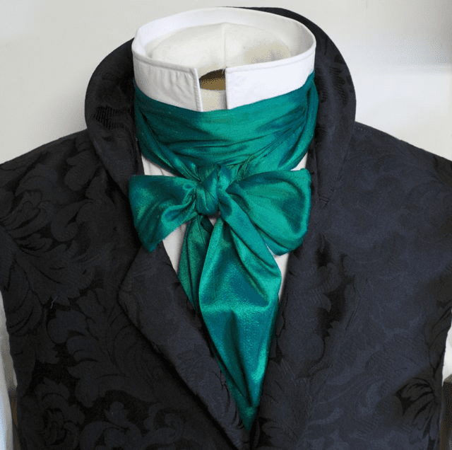 Extra Long - REGENCY Victorian Style Ascot Tie Cravat � Peacock Teal Green Dupioni Silk - 3 inch width