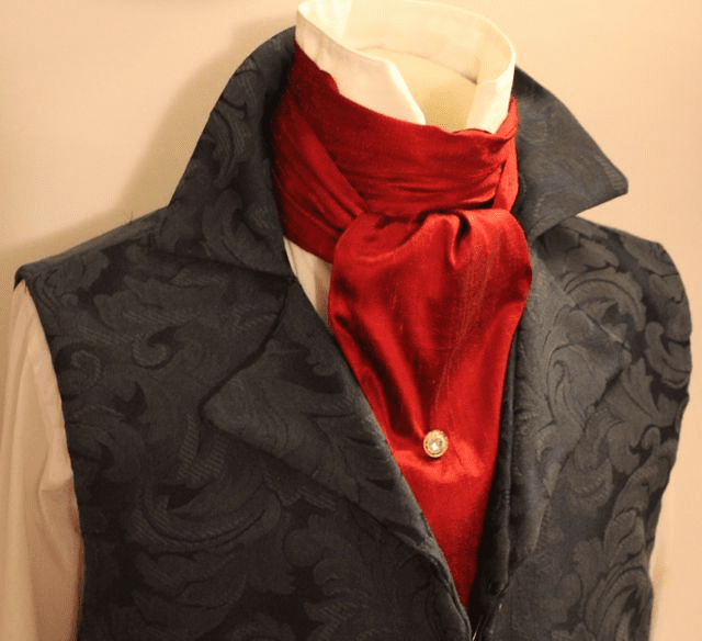 Extra Long - REGENCY Victorian Style Ascot Tie Cravat - Red Dupioni Silk - 6 inch width