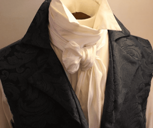 Extra Long - REGENCY Victorian Style Ascot Tie Cravat - White Dupioni Silk - 6 inch width