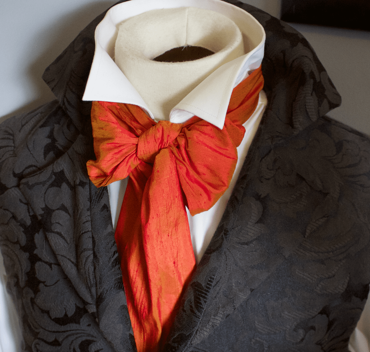 REGENCY SCARF Victorian Style Ascot Tie Cravat � Flame Gold Dupioni Silk - 6 inch width