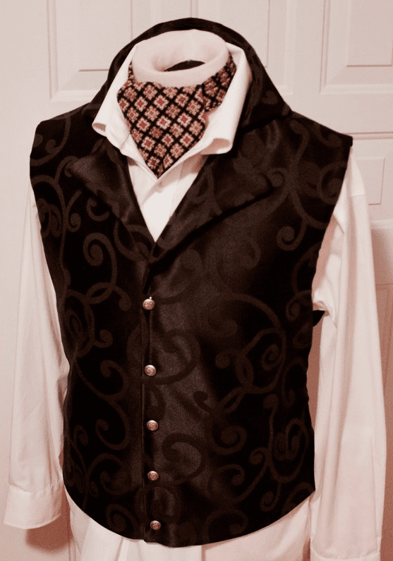 Regency Style Waistcoat Vest Black Rococo Scroll Tailored (also in Red or Cream)