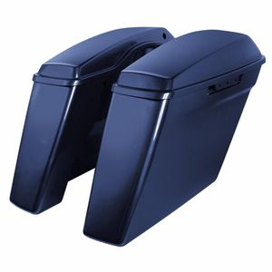 "'14- Present Harley No Cut Touring 4"" Stretch Saddlebags Big Blue Pearl"