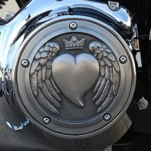 Angel WIng Heart Derby Cover In Aged Aluminum Finish