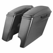 "'14-Present Harley 2-Into-1 Touring 4"" Stretched Saddlebags Charcoal Pearl"
