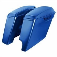 """'14-Present Harley 2-Into-1 Touring 4"""" Stretched Saddlebags Superior Blue"""