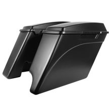 "'94-'13 Harley 2-Into-1 Touring 4"" Stretched Saddlebags Denim Black"