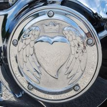 Angel Wing Heart Derby Cover In Polished Aluminum