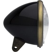 Headwinds Bullet Smooth 5-3/4 in Headlight Housing- Black/Antique Brass
