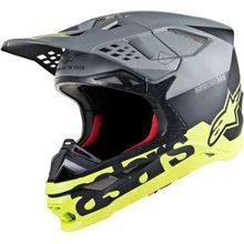 Alpinestars (MX) - Supertech M8 Helmet - Radium - MIPS - Matte Black/Mid Gray/Yellow Fluo
