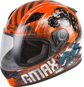GMAX - YOUTH GM-49Y BEASTS FULL-FACE HELMET ORANGE/BLUE/GREY