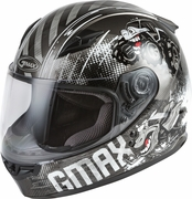 GMAX - YOUTH GM-49Y BEASTS FULL-FACE HELMET DARK SILVER/BLACK