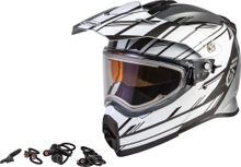 GMAX - AT-21S EPIC SNOW HELMET W/ELEC SHIELD SILVER/WHITE/BLACK