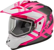 GMAX - GM-11S DUAL-SPORT TRAPPER SNOW HELMET PINK/WHITE/GREY