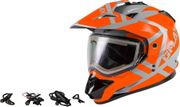 GMAX - GM-11S TRAPPER SNOW HELMET W/ELEC SHIELD GREY/ORANGE