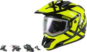 GMAX - GM-11S TRAPPER SNOW HELMET W/ELEC SHIELD BLACK/HI-VIS