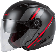GMAX - OF-77 OPEN-FACE REFORM HELMET MATTE BLACK/RED/SILVER
