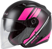 GMAX - OF-77 OPEN-FACE REFORM HELMET MATTE BLACK/PINK/SILVER