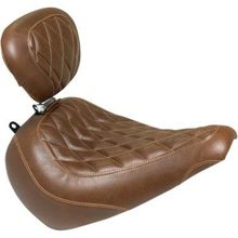 Mustang - Tripper Solo Seat - Diamond - Brown - Driver Backrest - '18-'20 FLFB/FLFBS