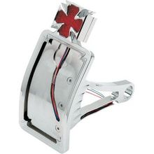 Drag Specialties - Side Mount Taillight/License Plate Mount - Curved Vertical - Maltese Cross
