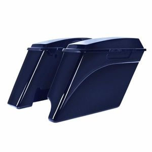 """'94-'13 Harley 2-Into-1 Touring 4"""" Stretched Saddlebags Big Blue Pearl"""