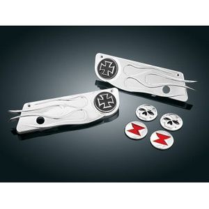 CHROME FLAME SADDLEBAG LATCH COVERS