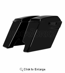 """'14-Present 2-Into-1 Extended 4"""" Stretched Saddlebags Harley  - Vivid Black"""