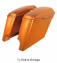"""'14- Present 4"""" Stretched Saddlebags for Harley - Amber Whiskey"""