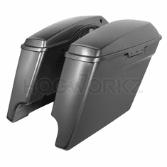 """'14-Present 4"""" Stretched Saddlebags for Harley Charcoal Pearl"""