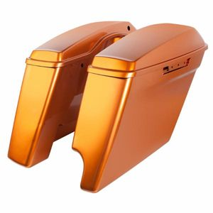 "'14- Present Harley 2-Into-1 Touring 4"" Stretched Saddlebags Amber Whiskey"