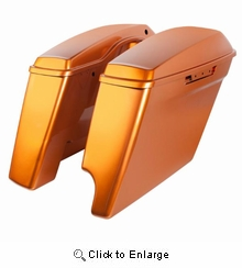 """'14- Present Harley 2-Into-1 Touring 4"""" Stretched Saddlebags Amber Whiskey"""