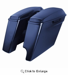 """'14-Present Harley 2-Into-1 Touring 4"""" Stretched Saddlebags Big Blue Pearl"""
