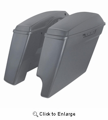 """'14-Present Harley 2-Into-1 Touring 4"""" Stretched Saddlebags Charcoal Denim"""